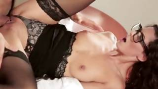 Great brunette in glasses has violent sex with her BF