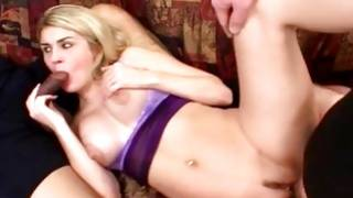 Bosomy blond bombshell eats willies and gets messed up
