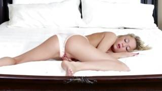 Fabulous light-haired playgirl playing with pretty vibrator