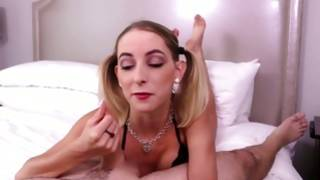 Stalky light-haired cock obsessed delinquent gives a wet hand relieving