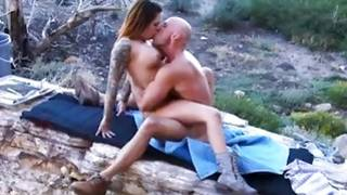 Outside fuck with a hot and awesome lady and a bald sir