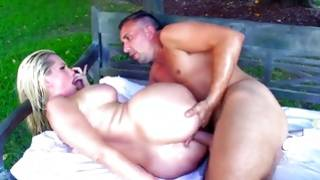 Watch this long-haired blond with fleshy ass having sex with bf