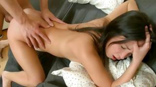 Immaculate dark-haired beauty drilled in juicy cooter