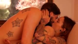 Impatient tattooed couple has marvelous romantic act of love